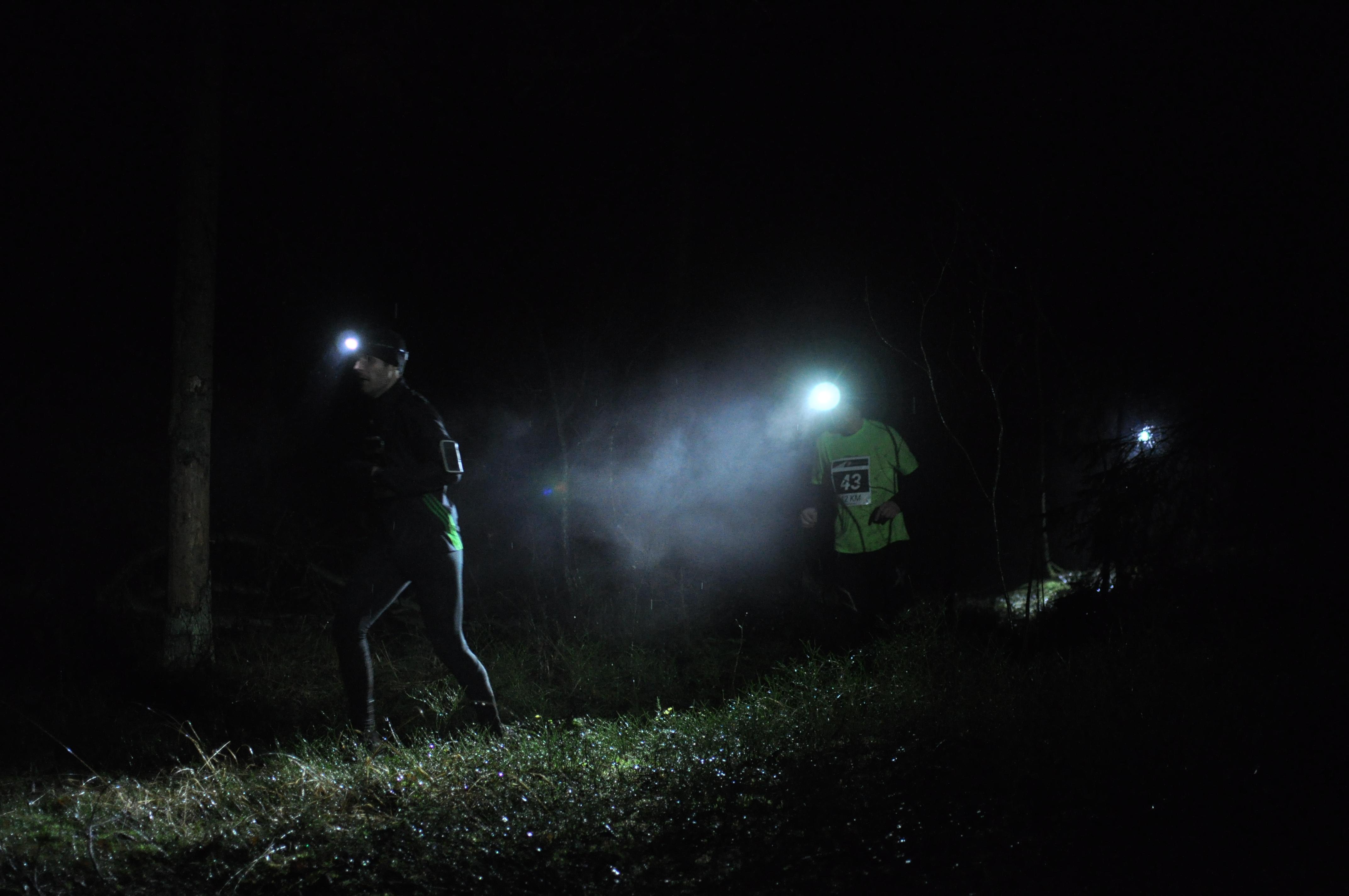 Två löpare på stig i Skatås mörkaste